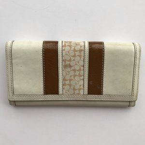 Coach Cream and Brown Trifold Monogram Wallet